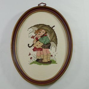 """Hummel Framed Completed Counted Cross Stitch """"Stor"""